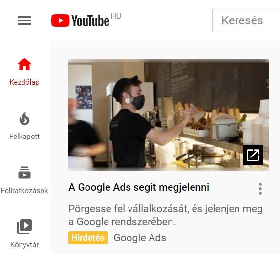youtube hirdetésre példa